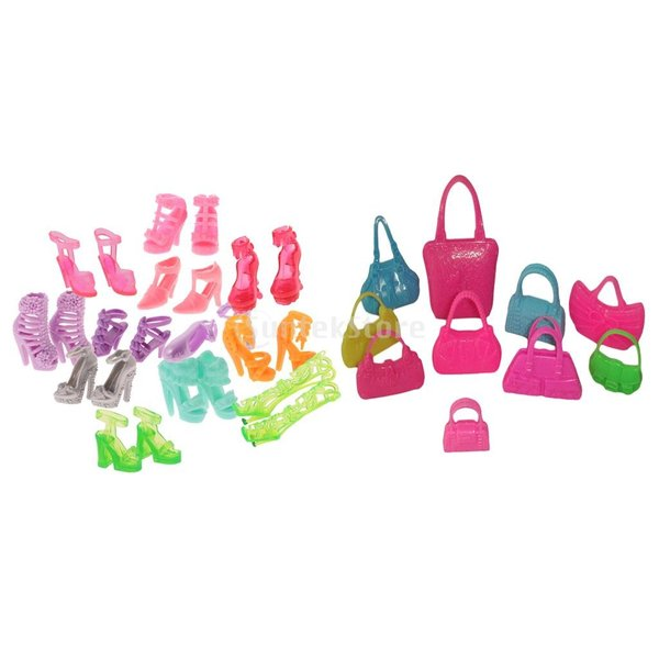 KOZEEY バービー 人形アクセサリ 12ペア ハイヒール ハンドバッグ(10個) ファッショナブル PVC stk-shop