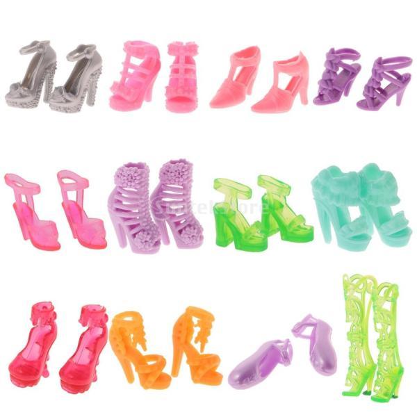 KOZEEY バービー 人形アクセサリ 12ペア ハイヒール ハンドバッグ(10個) ファッショナブル PVC stk-shop 04