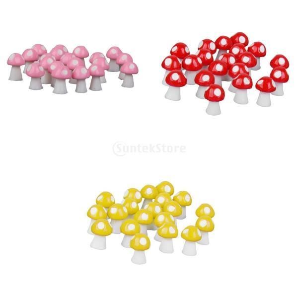 盆栽 ガーデン 樹脂 キノコ 60個/40個入り 多色 ミニチュア ドールハウス 装飾用  - 60個:黄&赤&ピンク
