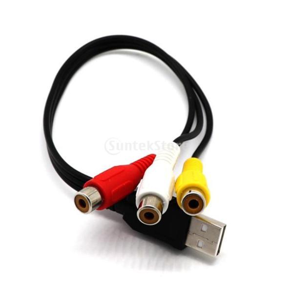 IPOTCH 2ピース USB オス→3 RCAメス ビデオ コンバータ ケーブル HDTVテレビに対応