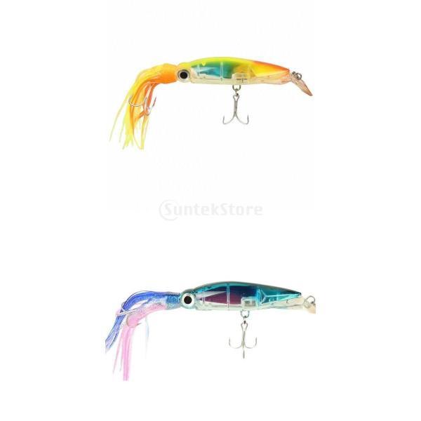 SunniMix 釣り イカ タックル ハードルアー ジグ フック ローリング キャスティング 半透明 24cm 2点セット