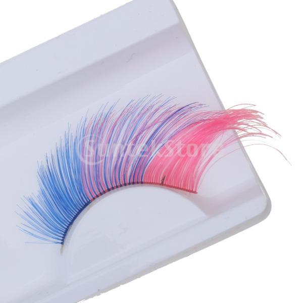 2ペア 付けまつ毛 カラフル まつげ 柔らか ファンシードレス コスチューム パーティー ハロウィーン メイクアップ