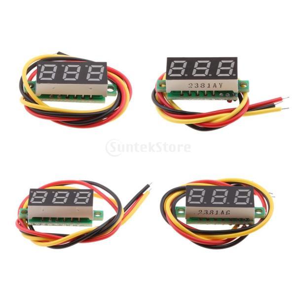 デジタル電圧計 4個入り 電圧テスター 3線式 DC 0-100V 高精度 安定性 お買い得