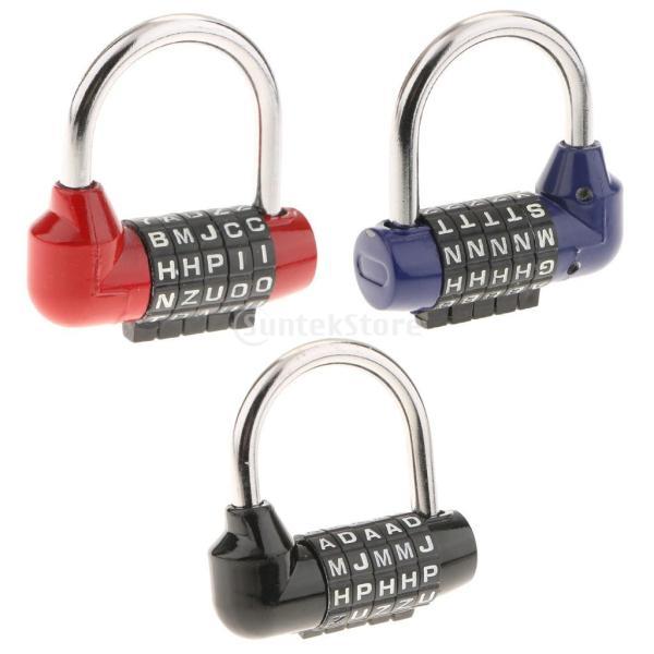 コンビネーションロック 南京錠 5桁 レター ダイヤル式 ジッパー袋 ハンドバッグ用 リセット可能 3個