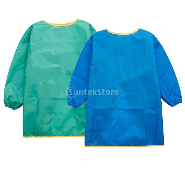 ポリエステル繊維防水布 子供 長袖 エプロン 防水スモック 男女兼用 日常着用 通気性 実用 便利 M ブルー+グリーン
