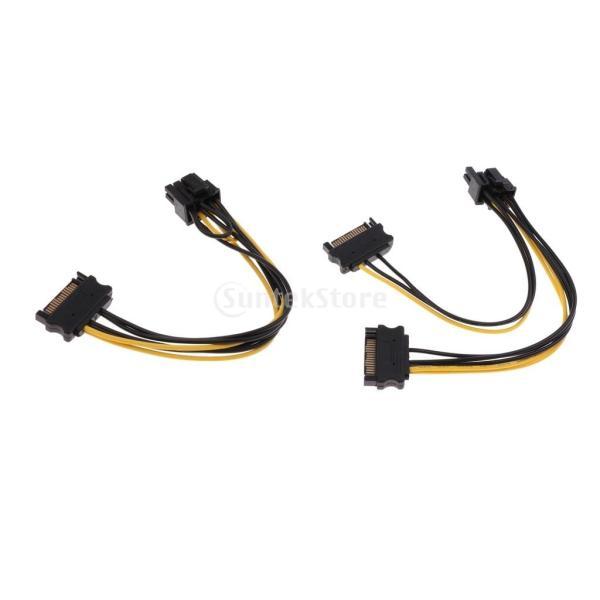Perfk SATA 15Pinオス(6 + 2)P  デュアルSATA 15Pオス 8Pビデオ 電源 アダプタ ケーブル