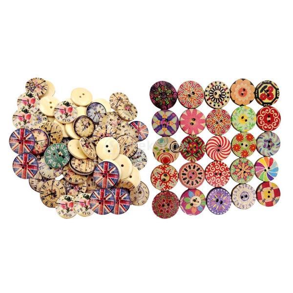 木製時計ボタン 2穴 カラフル 服アクセサリー 手芸用品 手作り 約150個