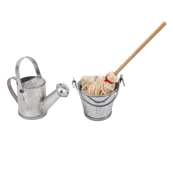 おもちゃ コレクション 1/12スケールミニチュア ドールハウス モップ バケツ 給水缶モデル ウッド製