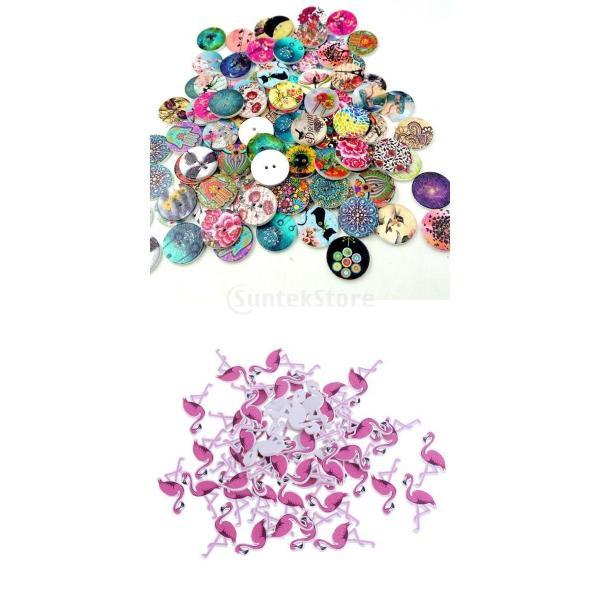 多色 ボタン 自然風景+フラミンゴ 2穴 木製 手芸用品 手作り 約150ピース