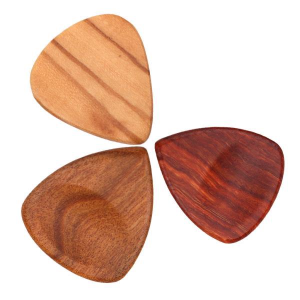 3個 木製 ギターピック ギタープレクトラム ギター/ベース用