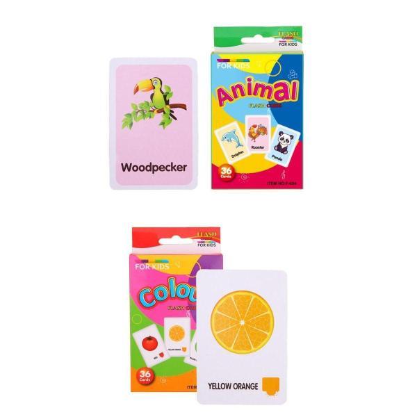 2セット カードゲーム 勉強カード フラッシュカード 英語 初期教育 動物 カラー 絵本