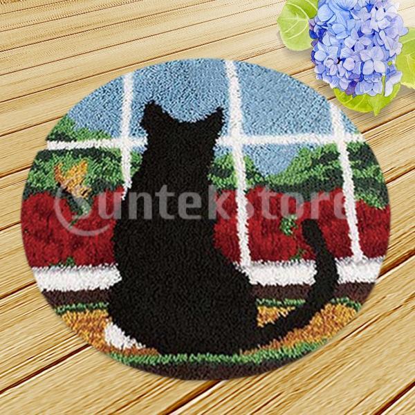2セット 黒猫 ラッチフックキット 敷物 クッション 工芸 刺繍 初心者