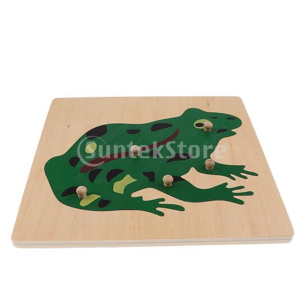 2枚 4色 子供 木製 ジグソーパズル 木製パズル おもちゃ - カエル+魚