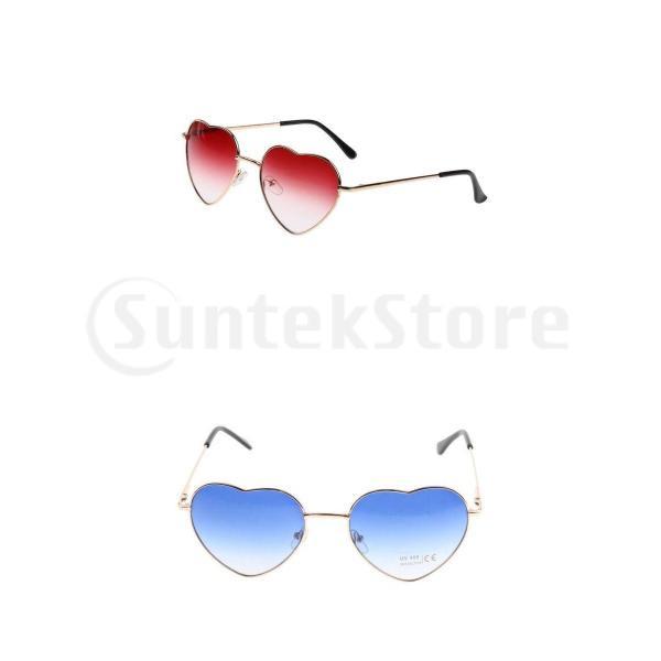 2xレトロメタルフレームハート型女性サングラスグラデーションレンズサングラス