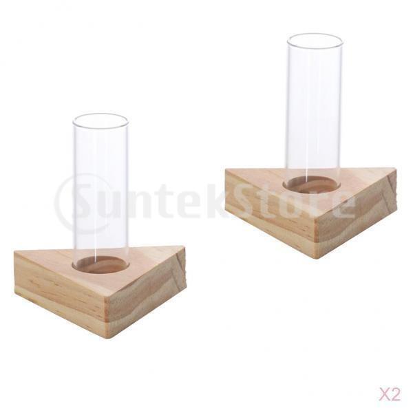 水耕植物のための木製スタンド植木鉢に4本のガラス試験管花瓶