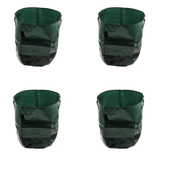 4ピース/個園芸植物ジャガイモ栽培バッグプランターハンドル付きフラップ耐久性