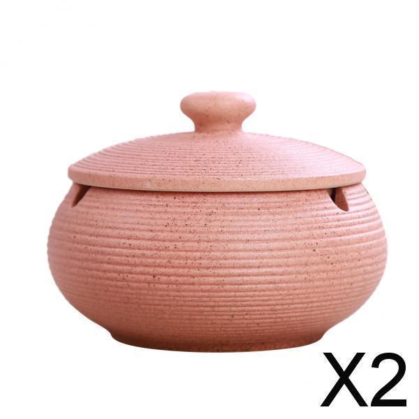 屋内屋外用ピンクの防風蓋付き2xセラミック灰皿
