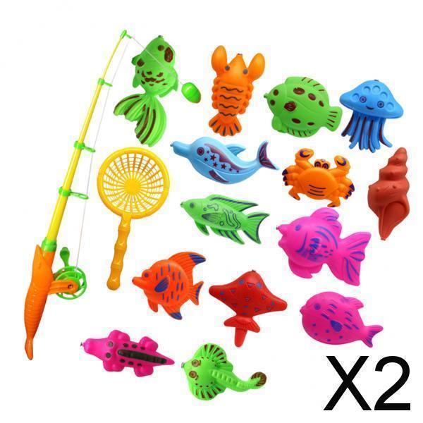2x15個の魚モデルセット赤ちゃん磁気釣り風呂おもちゃ子供ふり遊び