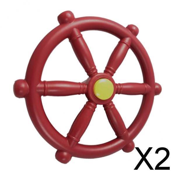 スイングセット屋外プレイセット裏庭赤用2xポータブル18.81インチ海賊船ホイール