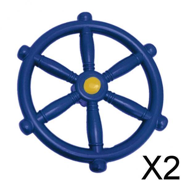 スイングセット屋外プレイセット裏庭用2xポータブル18.81インチ海賊船ホイールブルー