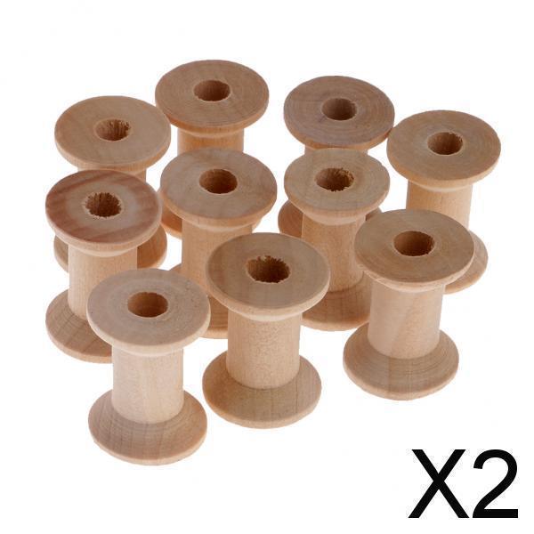 2x10個天然木製空糸スプール縫製ボビンツール28x21mm