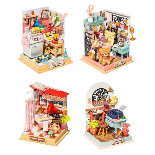 4pcs手作りクリエイティブドールハウス家具セット3Dパズル誕生日おもちゃ