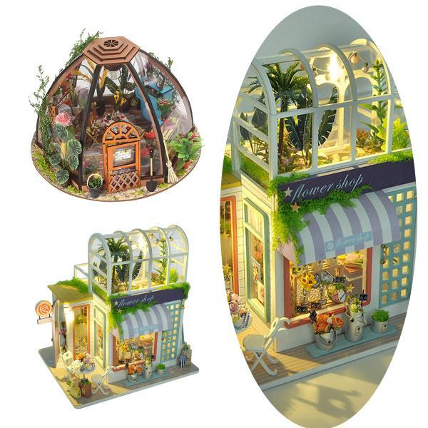 女の子の誕生日のための木製ドールハウス家具クリエイティブガーデンハウスルーム