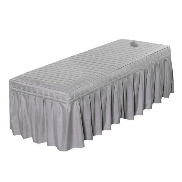 7xMassage化粧品テーブルバランスシートカバー、穴グレー-185x70cm