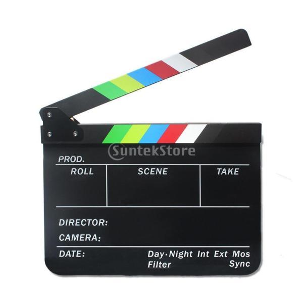 Lovoski クラッパーボード  テレビ/フィルム/映画 カチンコ  下見板張り ブラックボード カラフルなストライプスレート