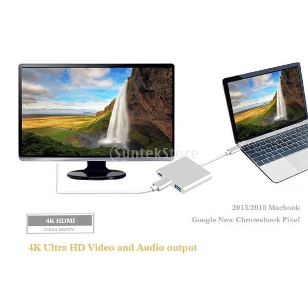 3 in1  マルチポート Type C USB 3.1ハブ  USB-CーUSB 3.0/ HDMI/ 充電アダプタ stk-shop 05