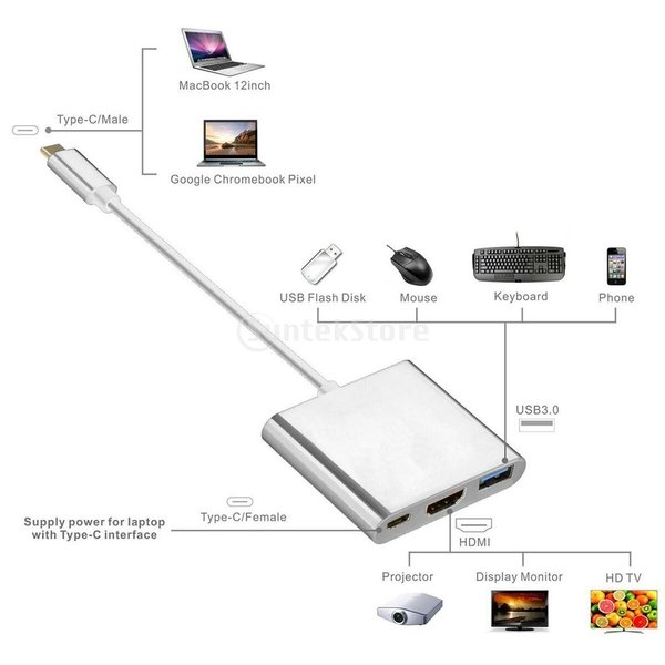3 in1  マルチポート Type C USB 3.1ハブ  USB-CーUSB 3.0/ HDMI/ 充電アダプタ stk-shop 06
