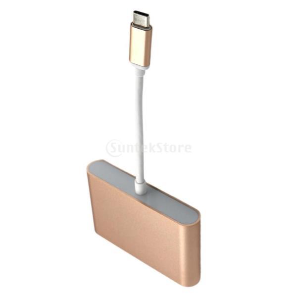 USB3.0 タイプ C to USB3.0 タイプ A + VGA + Type C  マルチポート ハブ アダプタ  2色選べる  - ゴールド|stk-shop