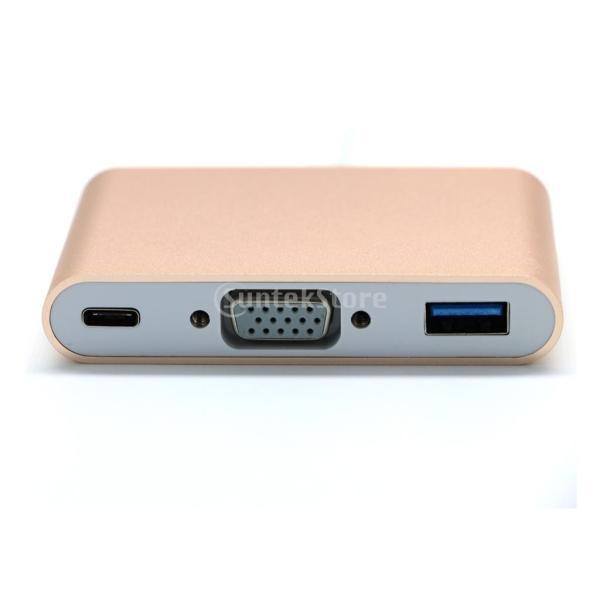 USB3.0 タイプ C to USB3.0 タイプ A + VGA + Type C  マルチポート ハブ アダプタ  2色選べる  - ゴールド|stk-shop|02