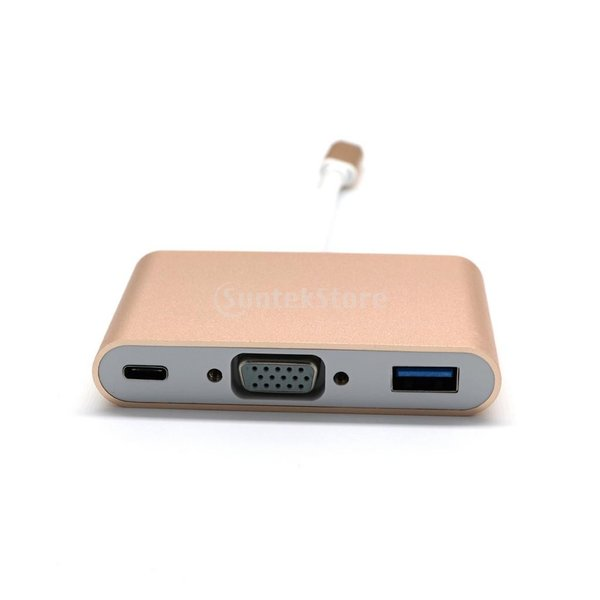 USB3.0 タイプ C to USB3.0 タイプ A + VGA + Type C  マルチポート ハブ アダプタ  2色選べる  - ゴールド|stk-shop|06