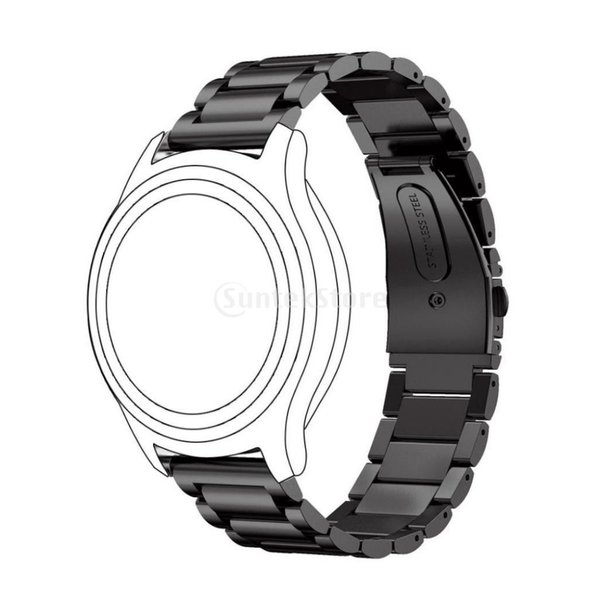 Lovoski ユニバーサル  22mm幅  ストラップ  スマートウォッチ  ステンレス製  リストバンド 交換用 4色選べる - ブラック