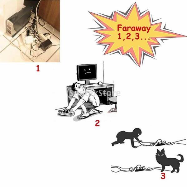 Lovoski ケーブル 管理 ボックス  コードオーガナイザー  16インチカバー 隠す  ワイヤー  プラグ 2色選べる - ブラック