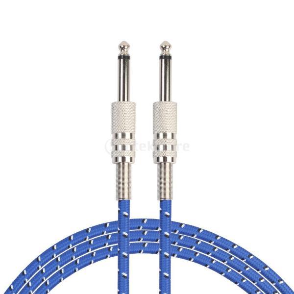 ギターアンプケーブル延長コード1.8m/3m楽器用低ノイズ柔らかい6.35mmジャック編み青-3m