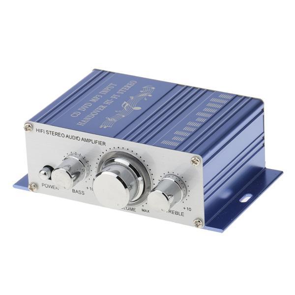送料無料 12V ミニHi-Fi ステレオ アンプ PC、MP3、ホームオーディオ入力 家庭用オーディオ用 ブルー|stk-shop