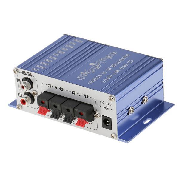 送料無料 12V ミニHi-Fi ステレオ アンプ PC、MP3、ホームオーディオ入力 家庭用オーディオ用 ブルー|stk-shop|03