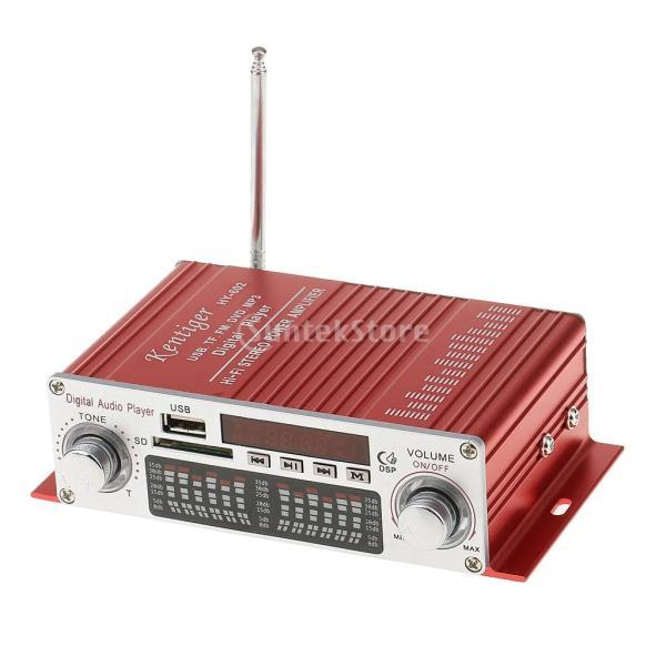 多機能 実用的 ミニHi-Fi デジタル ステレオオーディオアンプ DC 12V 20W X2リモート USB SD FM DVD レッド|stk-shop
