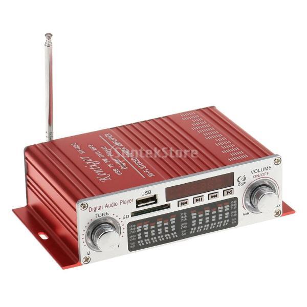 多機能 実用的 ミニHi-Fi デジタル ステレオオーディオアンプ DC 12V 20W X2リモート USB SD FM DVD レッド|stk-shop|02