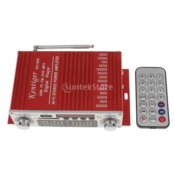 多機能 実用的 ミニHi-Fi デジタル ステレオオーディオアンプ DC 12V 20W X2リモート USB SD FM DVD レッド|stk-shop|03