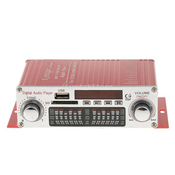 多機能 実用的 ミニHi-Fi デジタル ステレオオーディオアンプ DC 12V 20W X2リモート USB SD FM DVD レッド|stk-shop|04