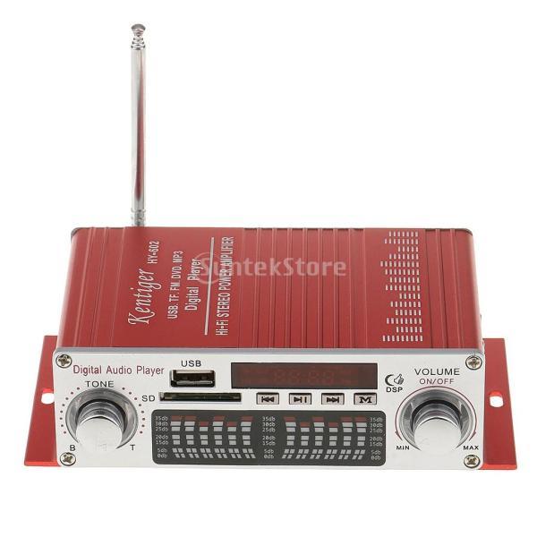 多機能 実用的 ミニHi-Fi デジタル ステレオオーディオアンプ DC 12V 20W X2リモート USB SD FM DVD レッド|stk-shop|05