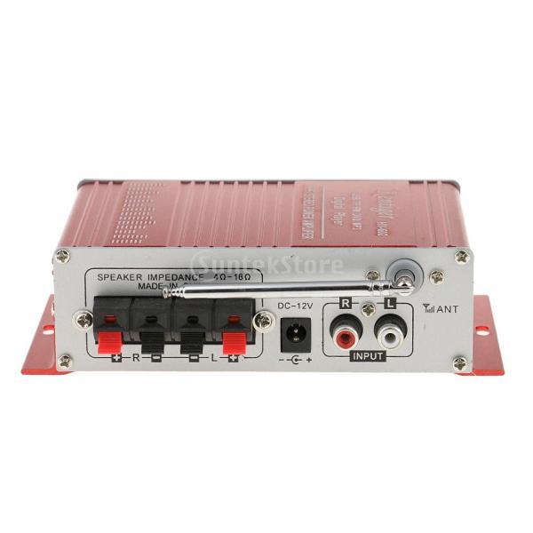 多機能 実用的 ミニHi-Fi デジタル ステレオオーディオアンプ DC 12V 20W X2リモート USB SD FM DVD レッド|stk-shop|07