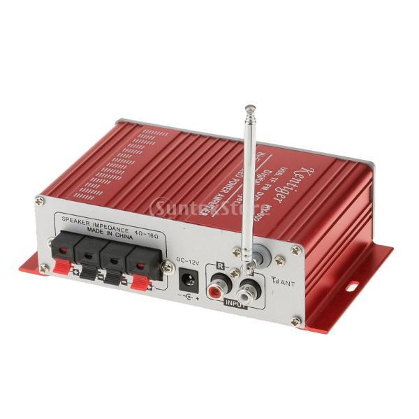 多機能 実用的 ミニHi-Fi デジタル ステレオオーディオアンプ DC 12V 20W X2リモート USB SD FM DVD レッド|stk-shop|08