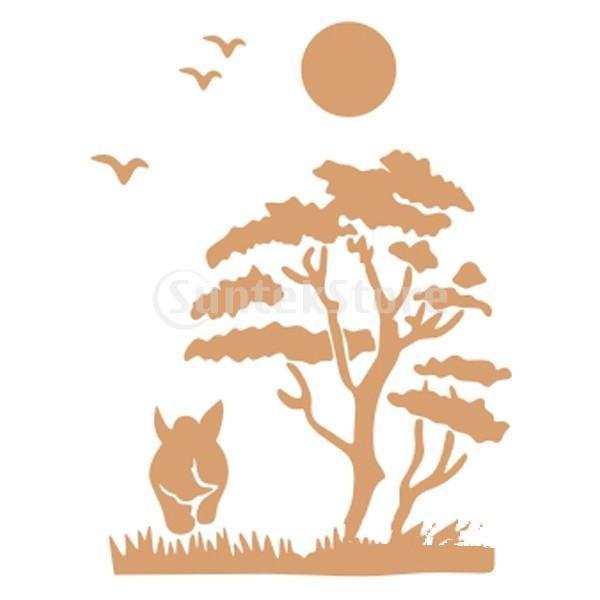 【ノーブランド 品】ホーム インテリア アート 装飾 壁画 ステンシル 壁 ペイント ステンシル 木鳥牛|stk-shop|02