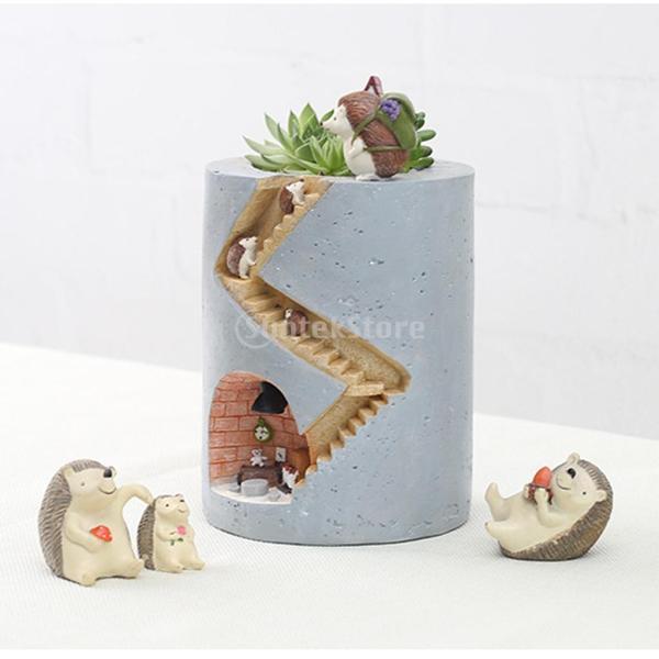 Non-brand 樹脂多肉植物プランターフラワーポットガーデンクラフト装飾ヘッジホッグデザイン