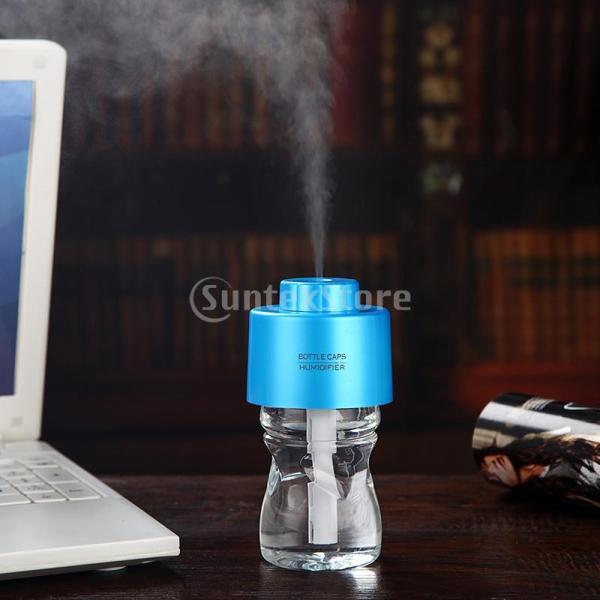 ノーブランド品  AB性 夜光 車 USB ウォーターボトル キャップ  散気装置 加湿器 4色選べる - ブルー