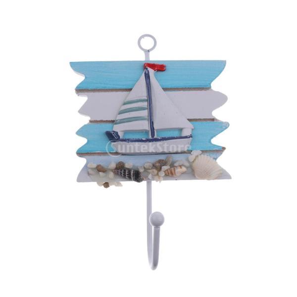 地中海スタイル 海辺 壁フック 壁掛け 装飾 便利 ハンギング 木 コート 帽子 全4色 - セイルボート